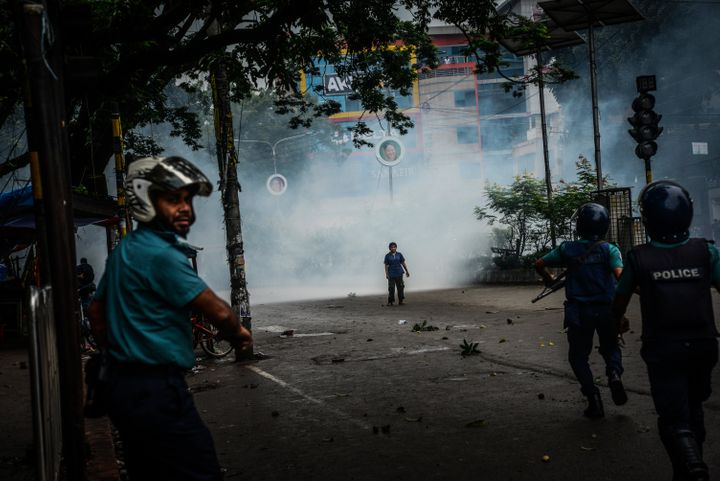 Police fired tear gas at the crowds during the eighth day of protests over road safety in Dhaka.