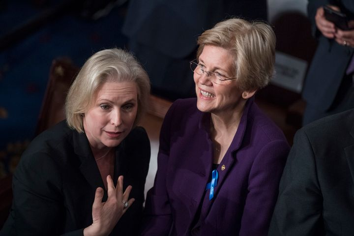 Two of the front-runners for the 2020 Democratic presidential nomination, Se. Kirsten Gillibrand and Sen. Elizabeth Warren.