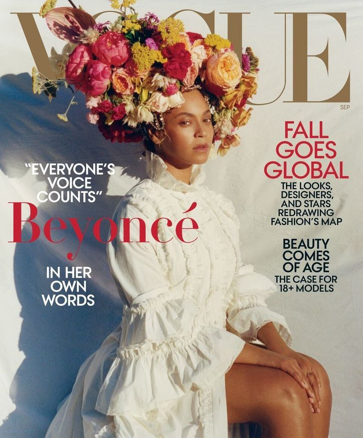 In the first cover, the singer wears a Gucci dress, headpiece by Lynn Ban and a Rebel Rebel floral headdress, according to Vogue.