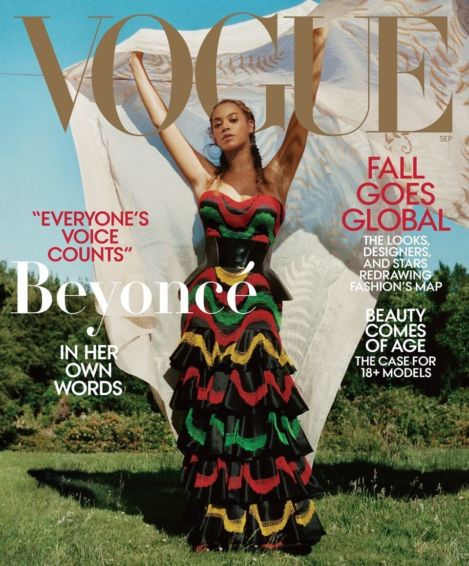 For Beyoncé's second cover, she wears a dress and corset by Alexander McQueen with Lynn Ban earrings,...