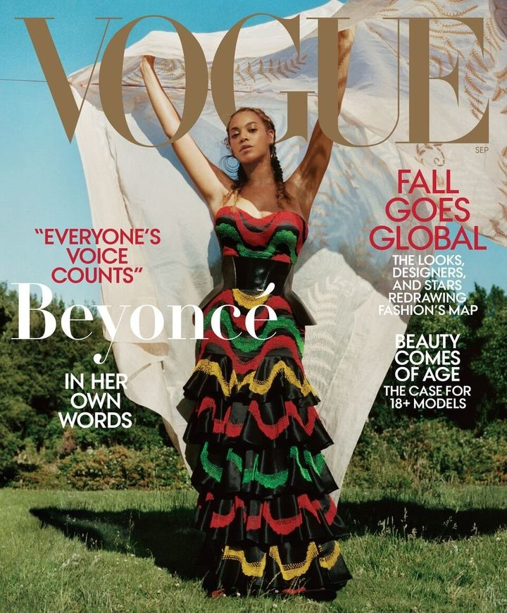 For Beyoncé's second cover, she wears a dress and corset by Alexander McQueen with Lynn Ban earrings, Vogue says.