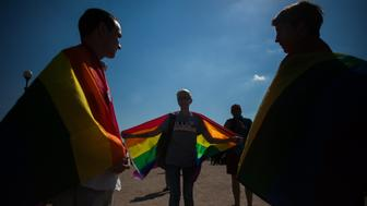 Activists participate in the St Petersburg LGBT Pride march on august 12, 2017 (Photo by Valya Egorshin/NurPhoto via Getty Images)