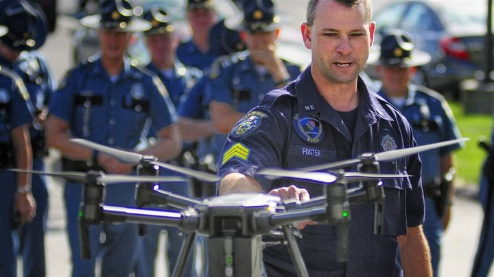 Maine State Police Sgt. Darren Foster, standing outside police headquarters in Augusta in September, discusses how drones tak