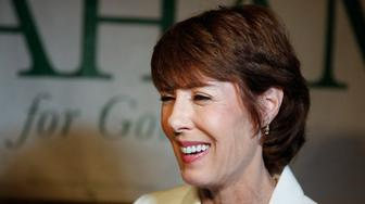 Democratic gubernatorial candidate Gwen Graham speaks to the media after a debate ahead of the Democratic primary for governor on Thursday, Aug. 2, 2018, in Palm Beach Gardens, Fla. (AP Photo/Brynn Anderson)