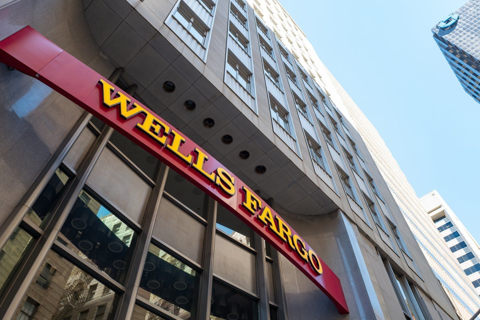 Signage with logo at headquarters of Wells Fargo Capital Finance, the commercial banking division of Wells Fargo Bank, in the Financial District neighborhood of San Francisco, California, September 26, 2016. (Photo via Smith Collection/Gado/Getty Images).