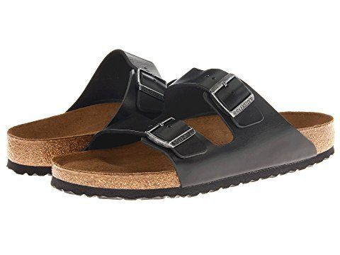 """<strong>Sizes</strong>: 5.5 - 13.5<br><a href=""""https://www.zappos.com/p/birkenstock-arizona-soft-footbed-leather-unisex-black"""