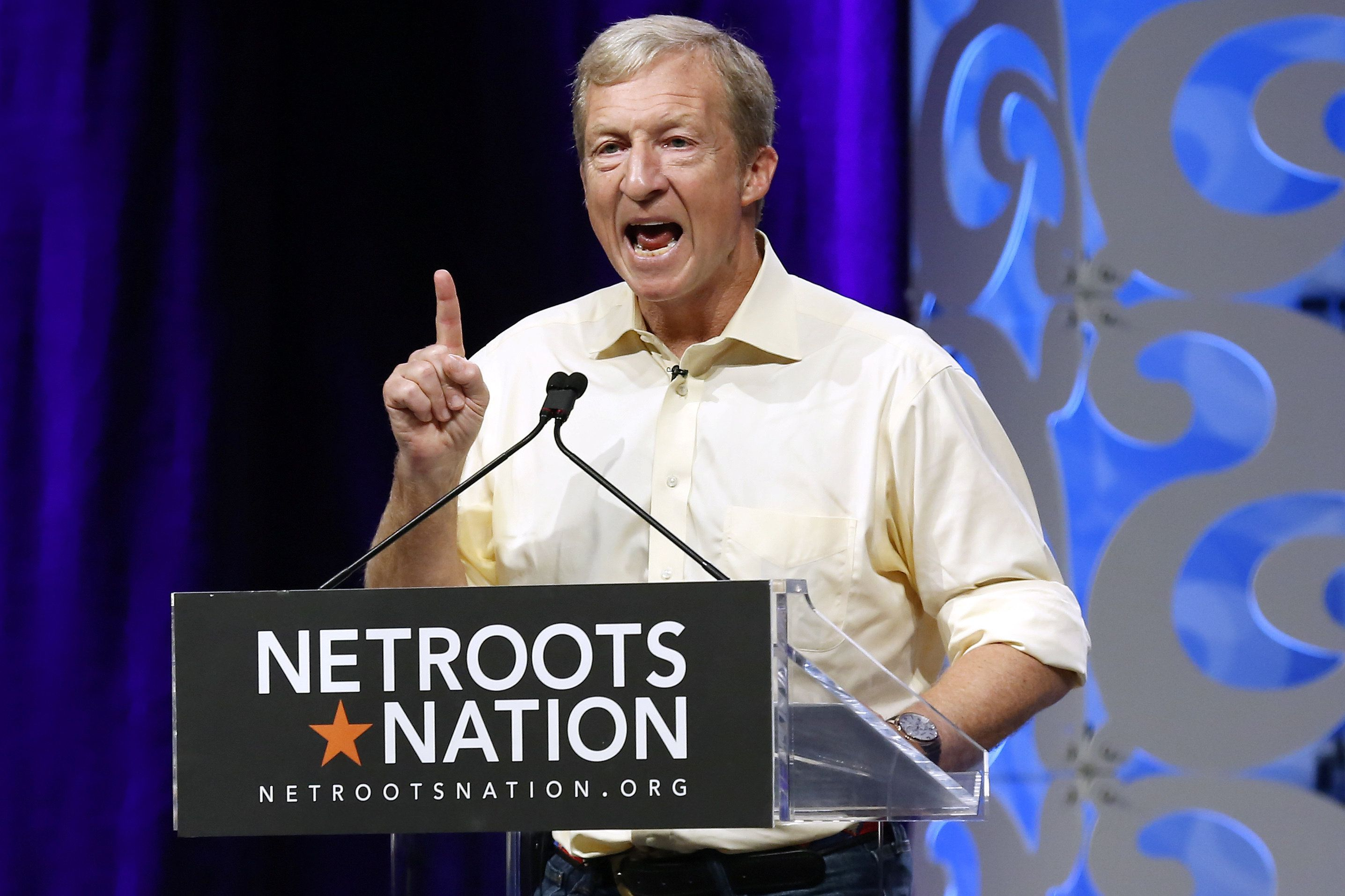 Tom Steyer speaks at the Netroots Nation conference in New Orleans Louisiana on Thursday Aug. 2 2018. The liberal donor