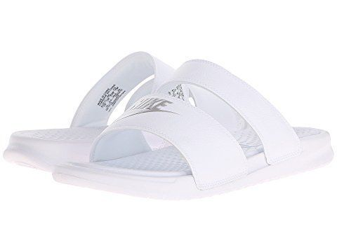 """<strong>Sizes</strong>: 5 - 12<br><a href=""""https://www.zappos.com/p/nike-benassi-duo-ultra-slide-white-metallic-silver/produc"""