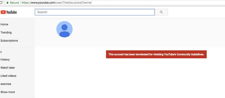 Alex Jones' YouTube channel was removed on Monday for violating the website's guidelines, a spokesperson said.