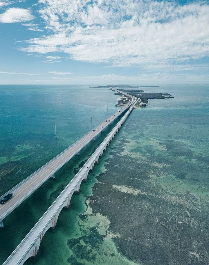 The Overseas Highway is one of the most unique roads in the country, as it basically island hops along Florida's hottes