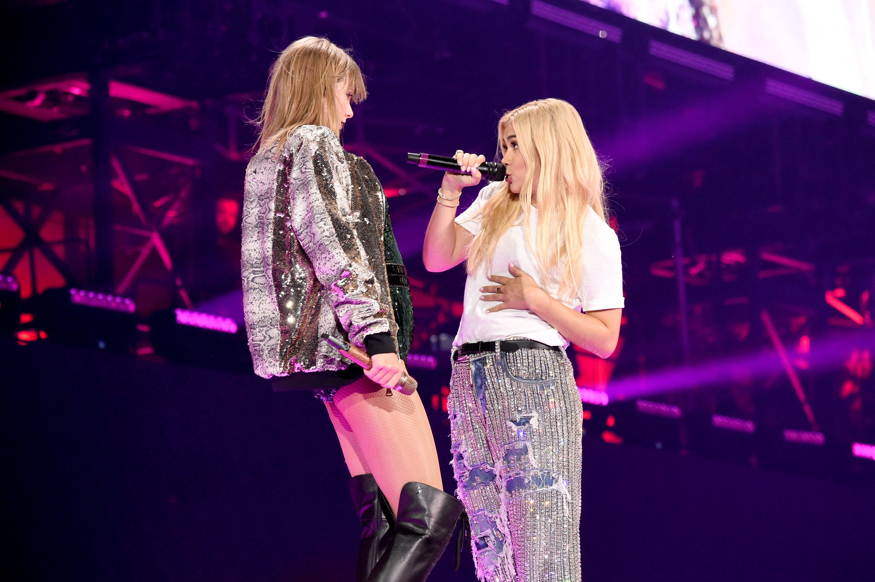 FOXBOROUGH, MA - JULY 26:  Taylor Swift and Hayley Kiyoko perform onstage during the Taylor Swift reputation Stadium Tour at Gillette Stadium on July 26, 2018 in Foxborough, Massachusetts.  (Photo by Kevin Mazur/TAS18/Getty Images for TAS)
