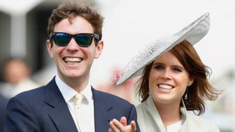 CHICHESTER, UNITED KINGDOM - JULY 30: (EMBARGOED FOR PUBLICATION IN UK NEWSPAPERS UNTIL 48 HOURS AFTER CREATE DATE AND TIME) Princess Eugenie and Jack Brooksbank watch the racing as they attend day three of the Qatar Goodwood Festival at Goodwood Racecourse on July 30, 2015 in Chichester, England. (Photo by Max Mumby/Indigo/Getty Images)