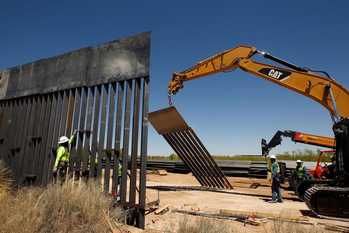 A bollard wall being built in Santa Teresa, New Mexico, on the U.S.-Mexico border on April 23. Construction of President Dona