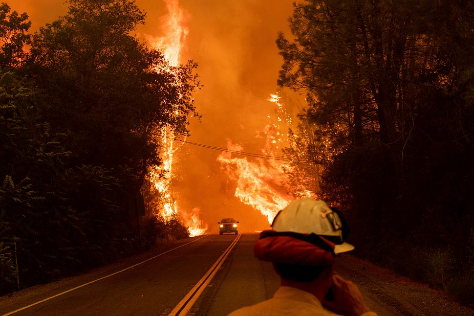 A car passes through flames on Highway 299 as the Carr Fire burns through Shasta, California.