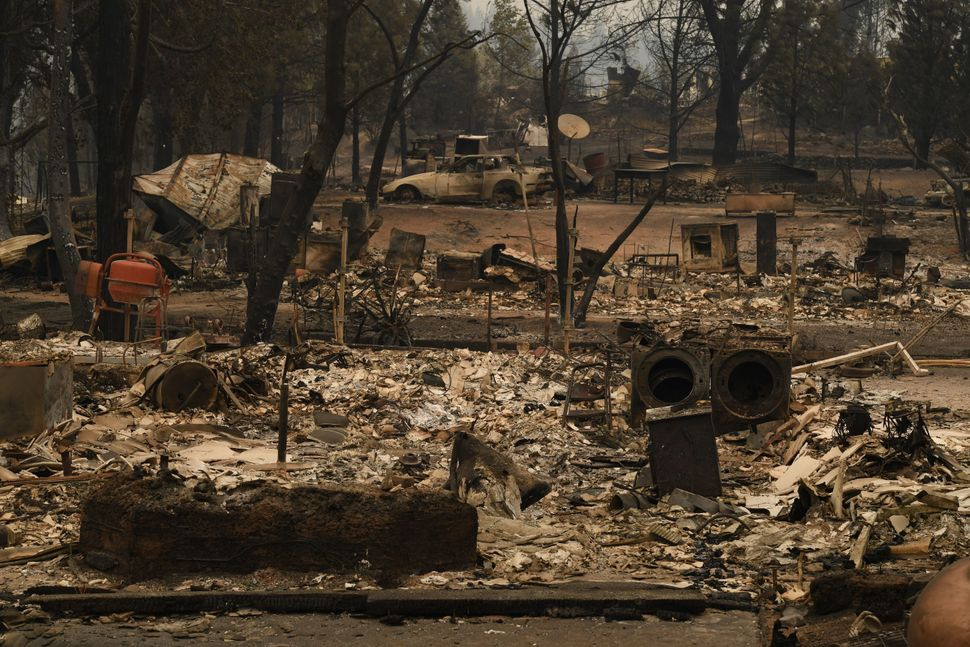 Burnt houses in the Keswick neighborhood of Redding.