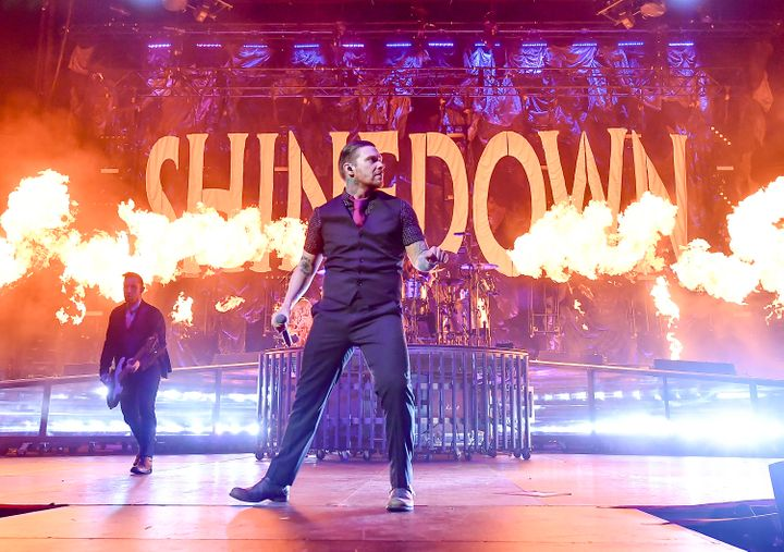 Eric Bass (left) and Brent Smith of Shinedown are currently on an arena tour with Godsmack.