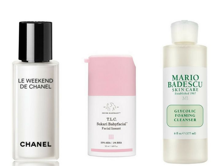 "<a href=""https://shop.nordstrom.com/s/chanel-le-weekend-de-chanel-weekly-renewing-face-care/3521734"" target=""_blank"" rel=""noopener noreferrer"">Chanel Le Weekend de Chanel</a>, $115; <a href=""https://www.drunkelephant.com/products/t-l-c-sukari-babyfacial"" target=""_blank"" rel=""noopener noreferrer"">Drunk Elephant T.L.C. Sukari Babyfacial</a>, $80; <a href=""https://www.mariobadescu.com/product/glycolic-foaming-cleanser"" target=""_blank"" rel=""noopener noreferrer"">Mario Badescu Glycolic Foaming Cleanser</a>, $16"