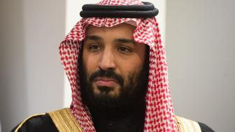 Prince Mohammed bin Salman Al Saud, Crown Prince, Kingdom of Saudi Arabia,  attends a meeting with the United Nations Secretary-General Antonio Guterres (out of frame) at the United Nations on March 27, 2018 in New York.  / AFP PHOTO / Bryan R. Smith        (Photo credit should read BRYAN R. SMITH/AFP/Getty Images)