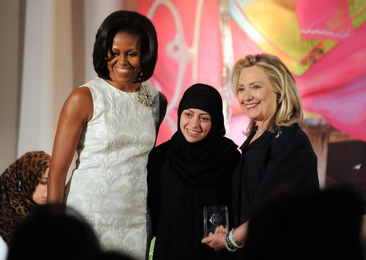 On March 8, 2012, Samar Badawi of Saudi Arabia was congratulated by first lady Michelle Obama and Secretary of State Hillary Clinton as she received the 2012 International Women of Courage Award. Canada last week protested Badawi's jailing in Saudi Arabia.