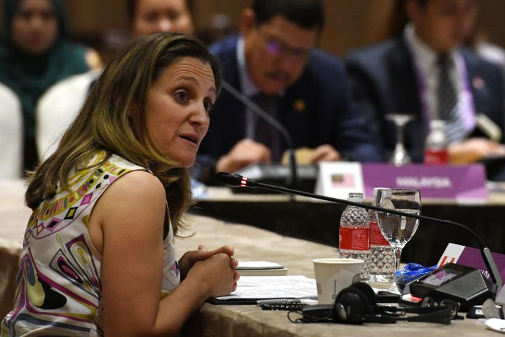 Canada's Foreign Minister Chrystia Freeland delivers her opening remarks at the Association of Southeast Asian Nations meetin