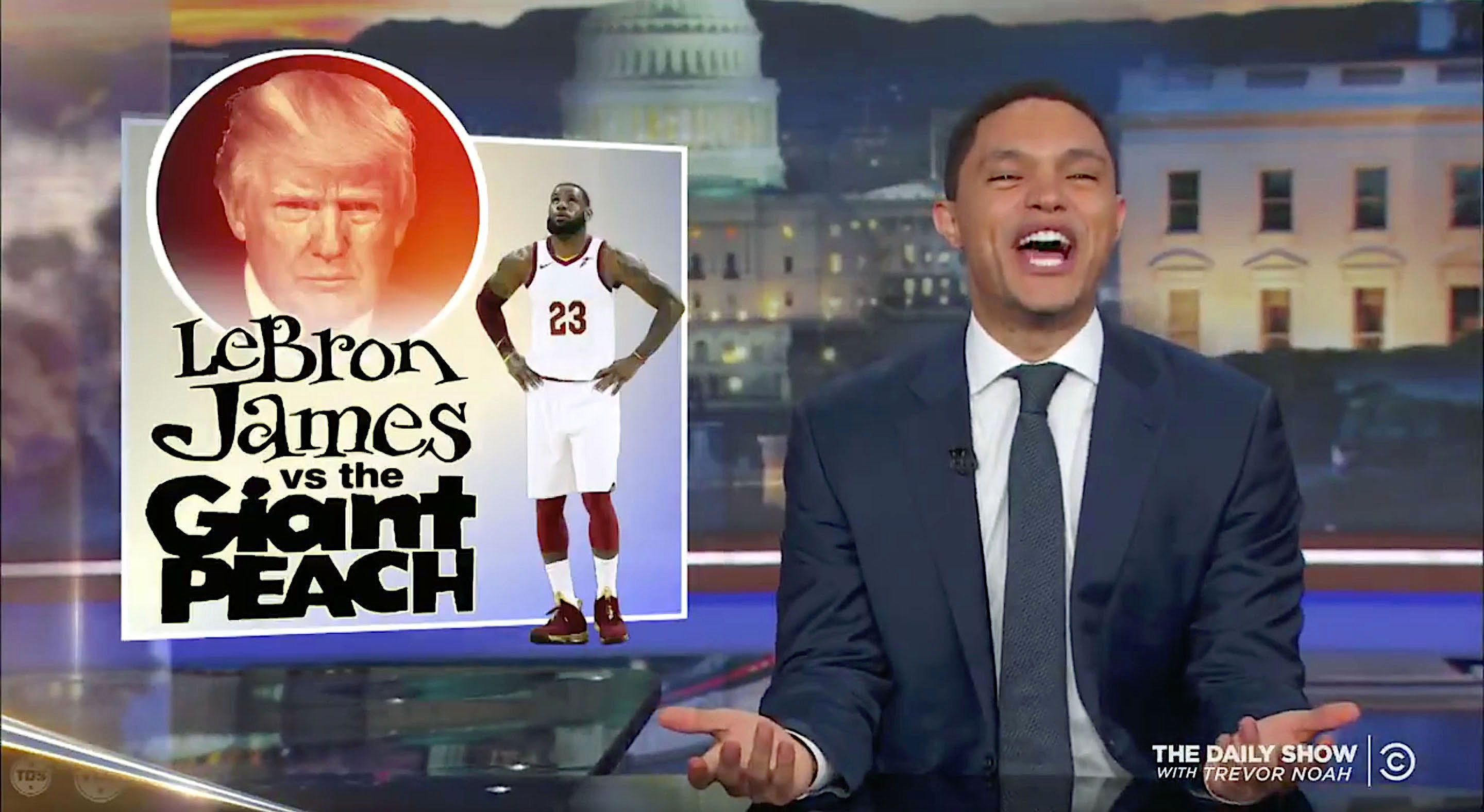 Trevor Noah of The Daily Show looks at the feud between President Donald Trump and LeBron James