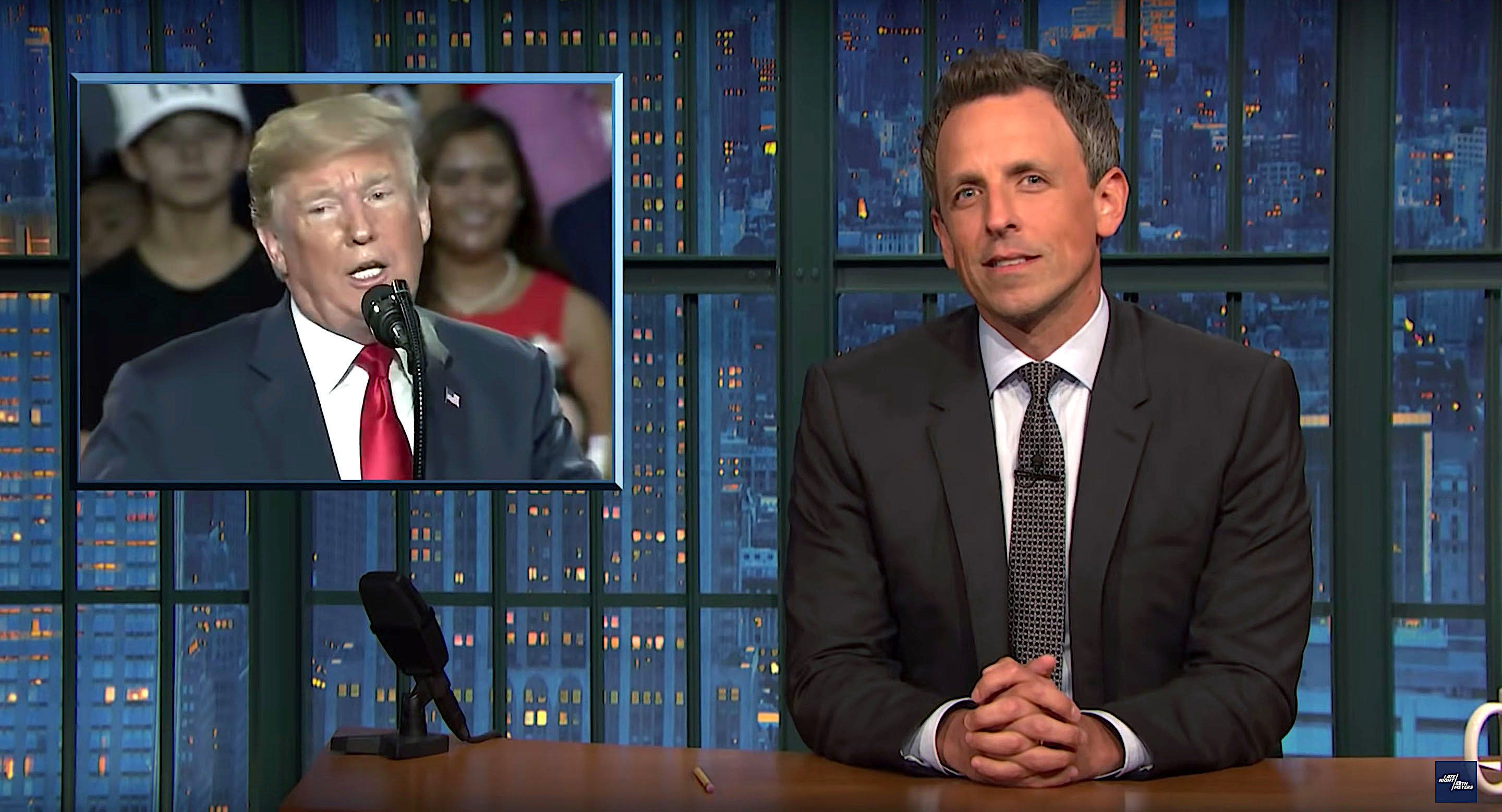 Seth Meyers of Late Night rips President Donald Trump for his Ohio rally