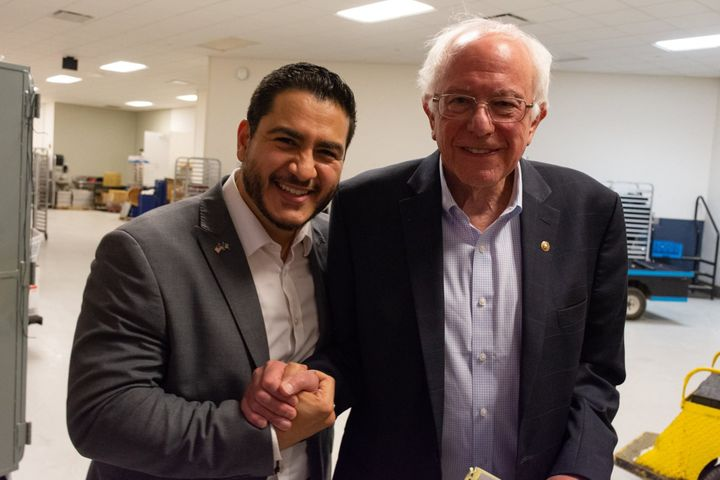 Sen. Bernie Sanders (I-Vt.), right, campaigns for Abdul El-Sayed, a populist doctor running for governor of Michigan.