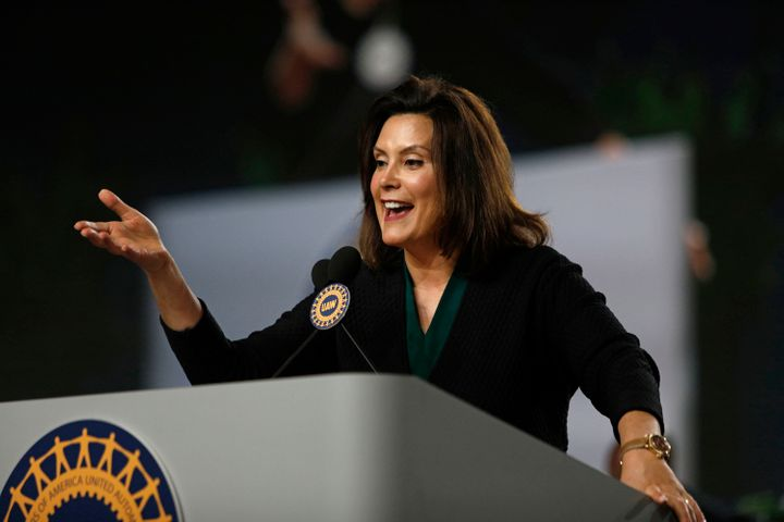 Gretchen Whitmer speaks at aUnited Auto Workers convention in Detroit on June 14, 2018. The influential labor union has