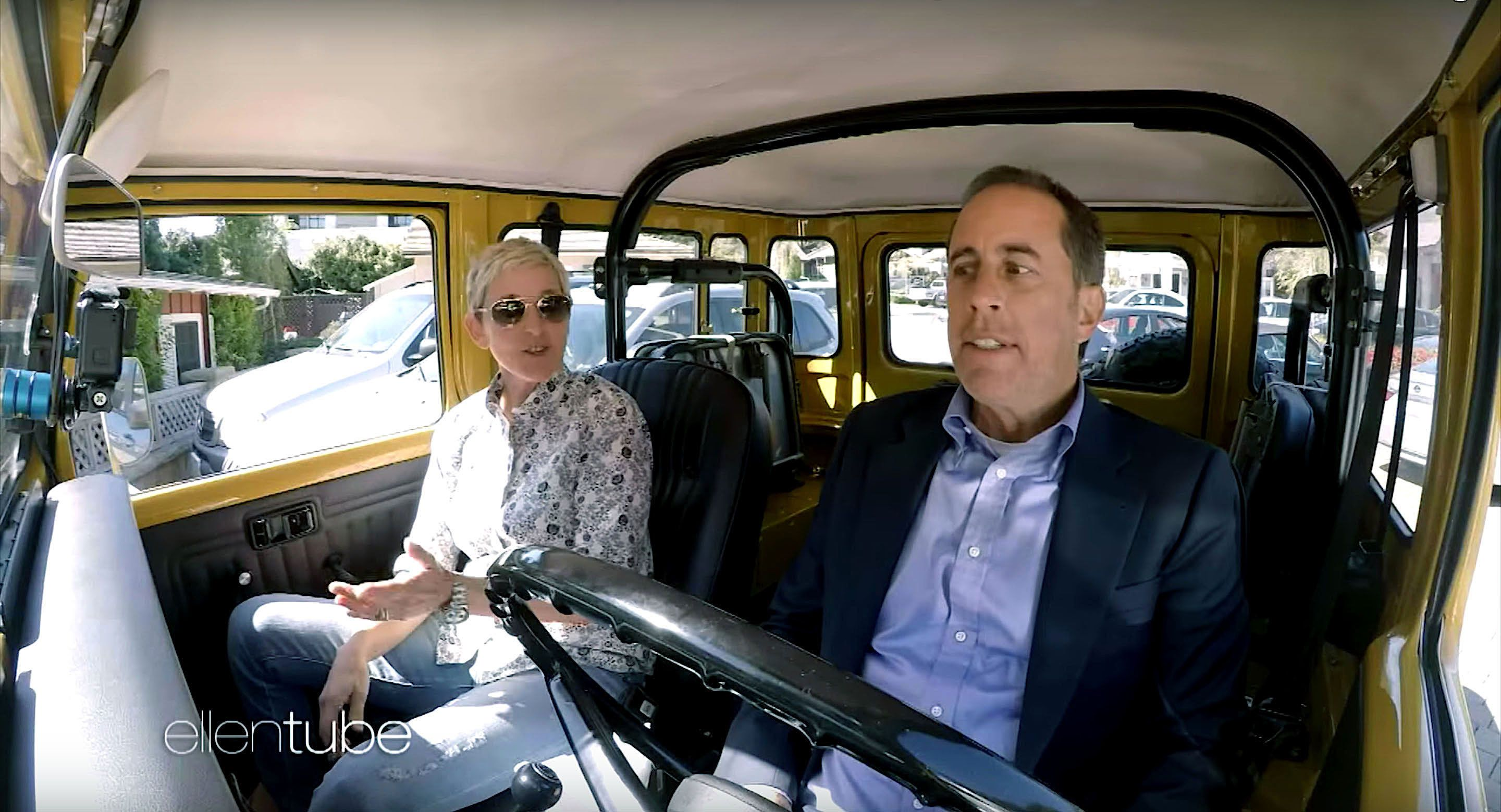 Ellen DeGeneres and Jerry Seinfeld in an episode of Comedians in Cars Getting Coffee