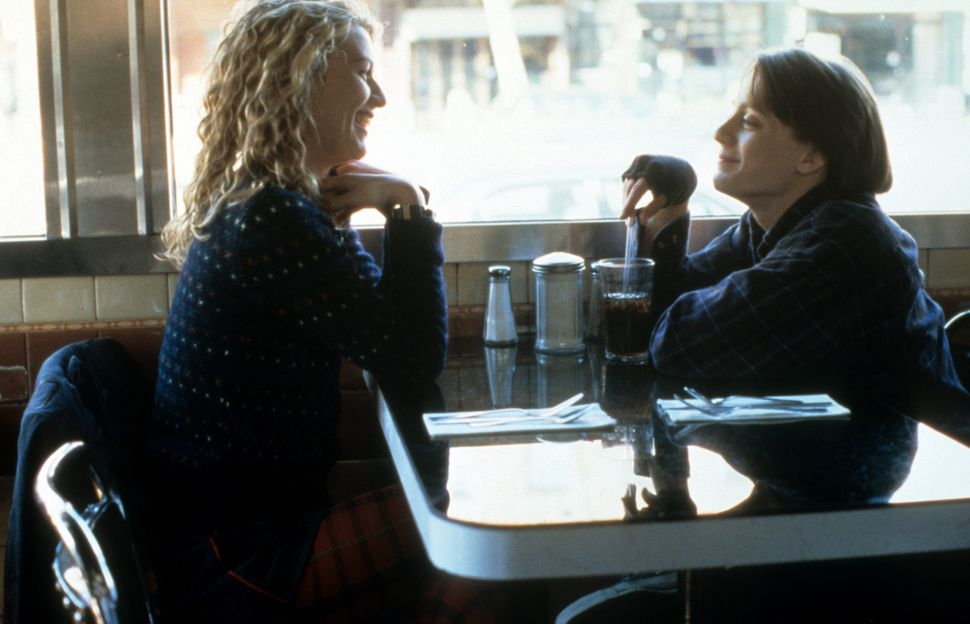 """Claire Danes and Kieran Culkin talk at a coffee shop for a scene from """"Igby Goes Down."""" Culkin entered an existential crisis"""
