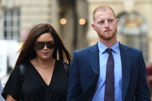 England cricketer Ben Stokes, and his wife Clare, during a lunch break outside Bristol Crown Court, where...