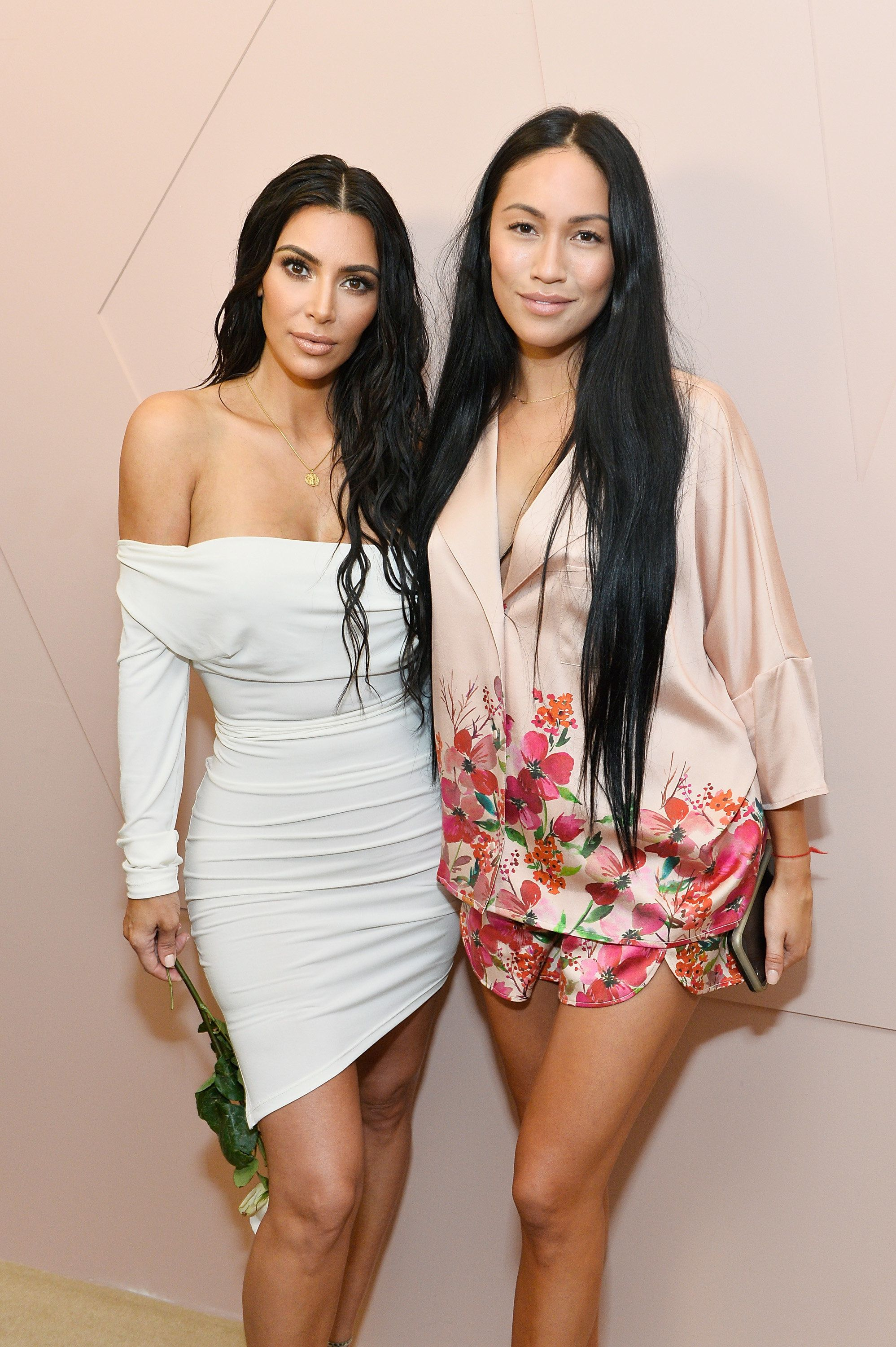 Kim Kardashian and Stephanie Shepherd celebrate the launch of KKW Beauty on June 20, 2017, in Los Angeles.