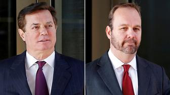 Paul Manafort (L), former campaign chairman for U.S. President Donald Trump, in Washington, DC, U.S., December 11, 2017, and Rick Gates, former campaign aide to Trump, in Washington, U.S., December 11, 2017 are pictured in this combination photograph.  REUTERS/Joshua Roberts/File Photo