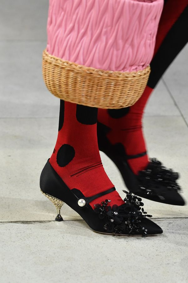 Kitten heels on the runway during the Miu Miu spring/summer 2018 show on Oct. 3 as part of Paris Fashion Week.