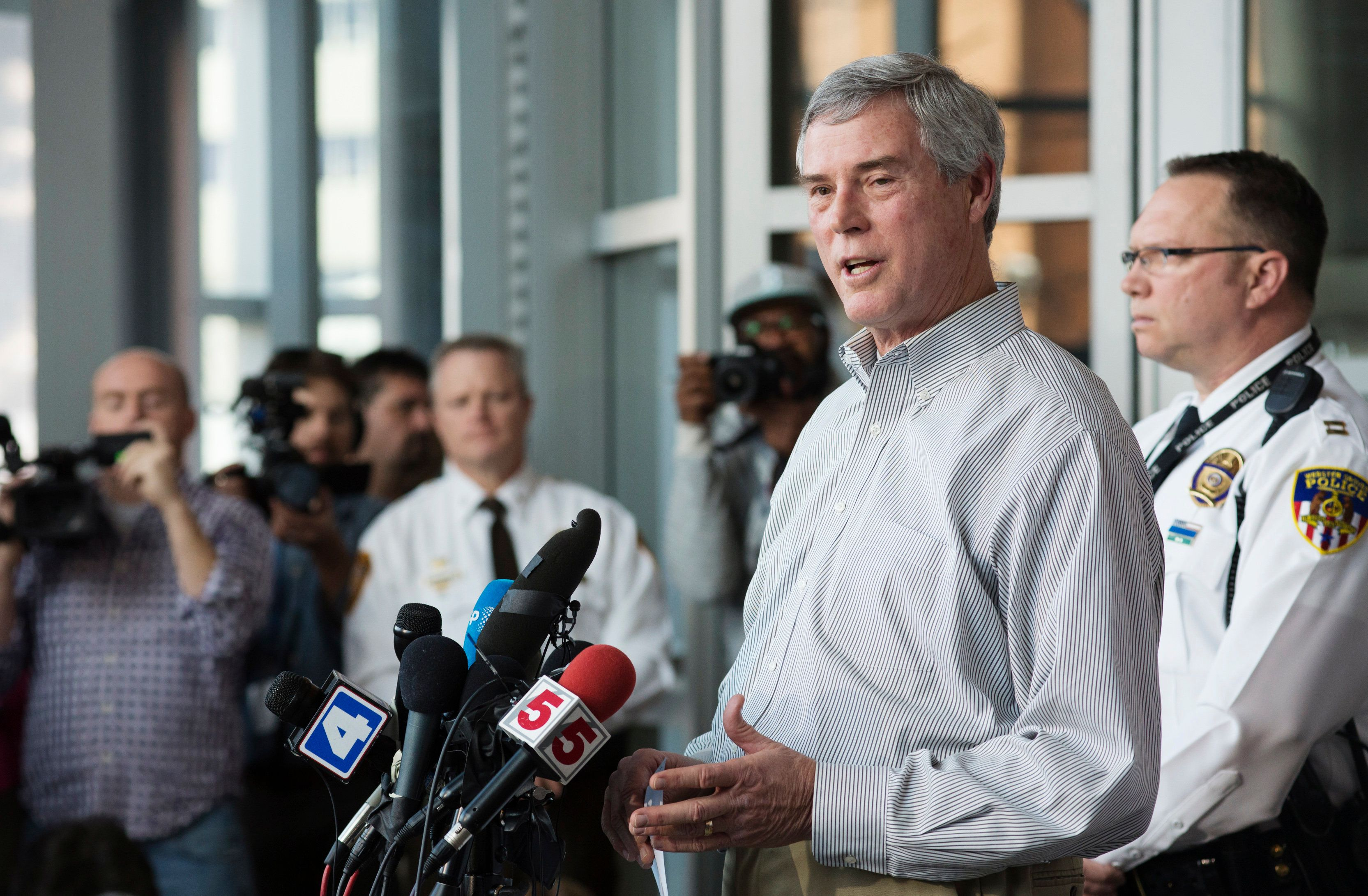 St. Louis County District Attorney Robert McCulloch at 2015 press conference about an arrest in connection with a shooting at