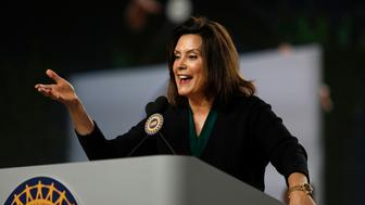 DETROIT, MI-JUNE 14: Michigan Democrat Gubernatorial candidate Gretchen Whitmer addresses the 37th United Auto Workers Constitutional Convention June14, 2018 at Cobo Center in Detroit, Michigan (Photo by Bill Pugliano/Getty Images)