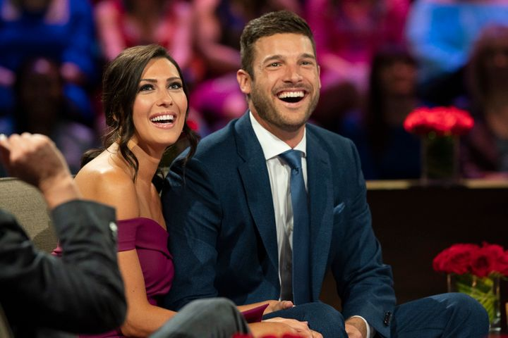 "Becca Kufrin and Garrett Yrigoyen make their first public appearance as an engaged couple on the season finale of ""The Bachel"