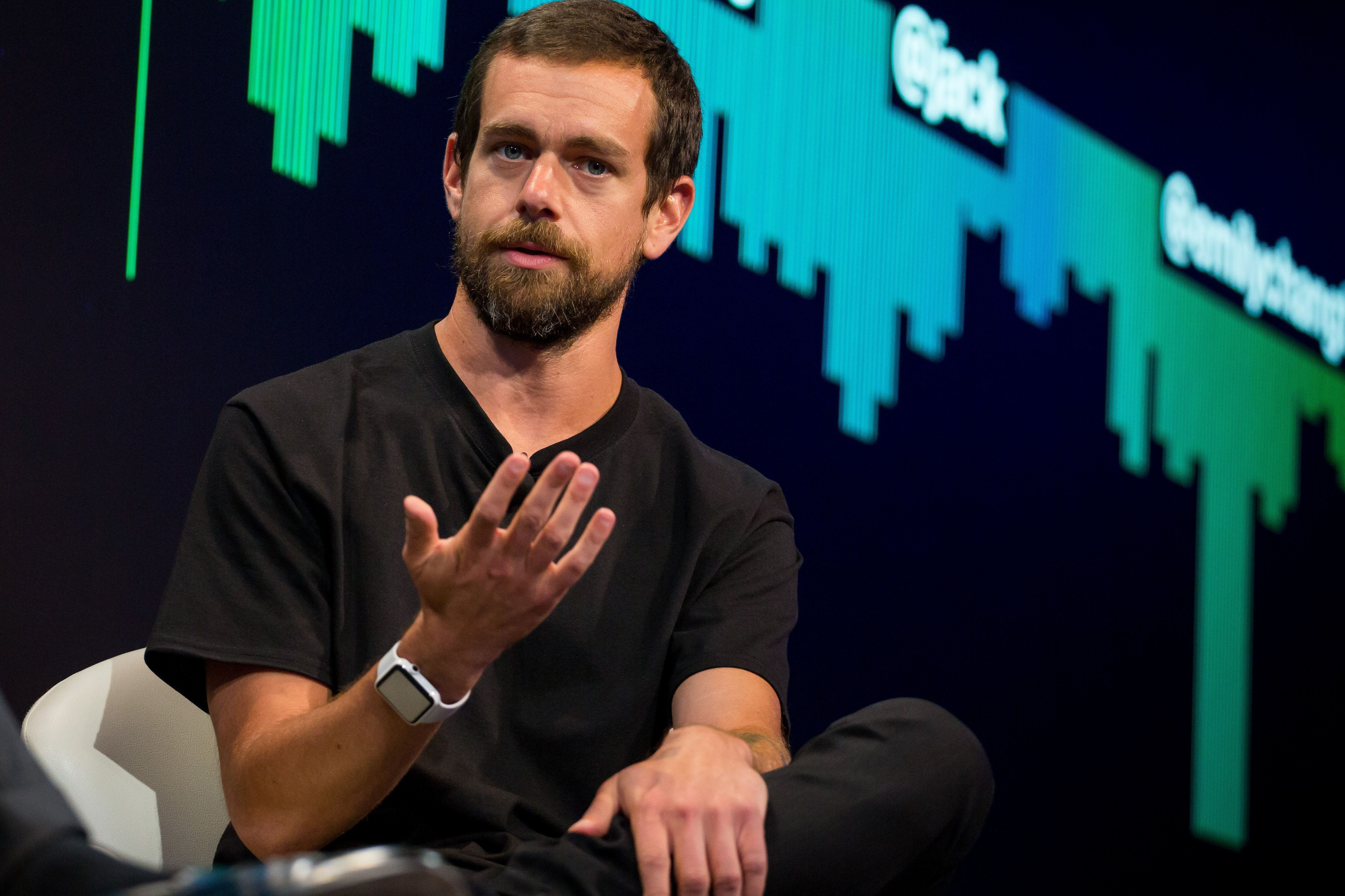 Jack Dorsey, co-founder and chief executive officer of Twitter Inc., speaks during an interview in New York, U.S., on Monday, May 1, 2017. Twitter announced a partnership with Bloomberg LP to deliver 24/7 live streaming news program. Photographer: Michael Nagle/Bloomberg via Getty Images