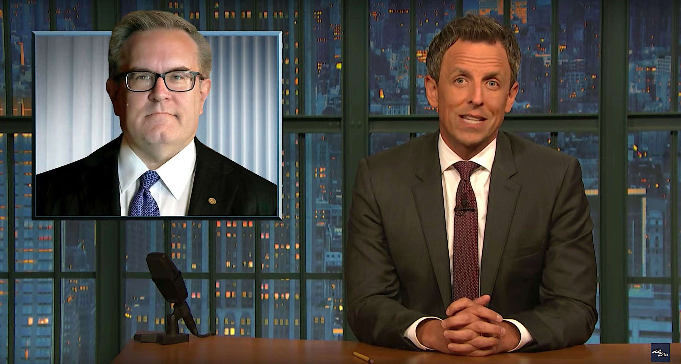 Seth Meyers of Late Night checks in on the new EPA administrator Andrew Wheeler
