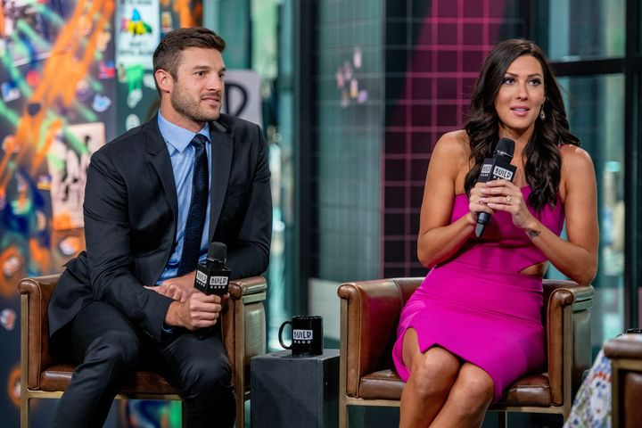 "Yrigoyen and Becca Kufrin discuss ""The Bachelorette"" season finale at the Build Studio in New York City on Aug. 7"