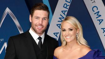 NASHVILLE, TN - NOVEMBER 08:  Mike Fisher and Carrie Underwood attend the 51st annual CMA Awards at the Bridgestone Arena on November 8, 2017 in Nashville, Tennessee.  (Photo by Taylor Hill/FilmMagic)