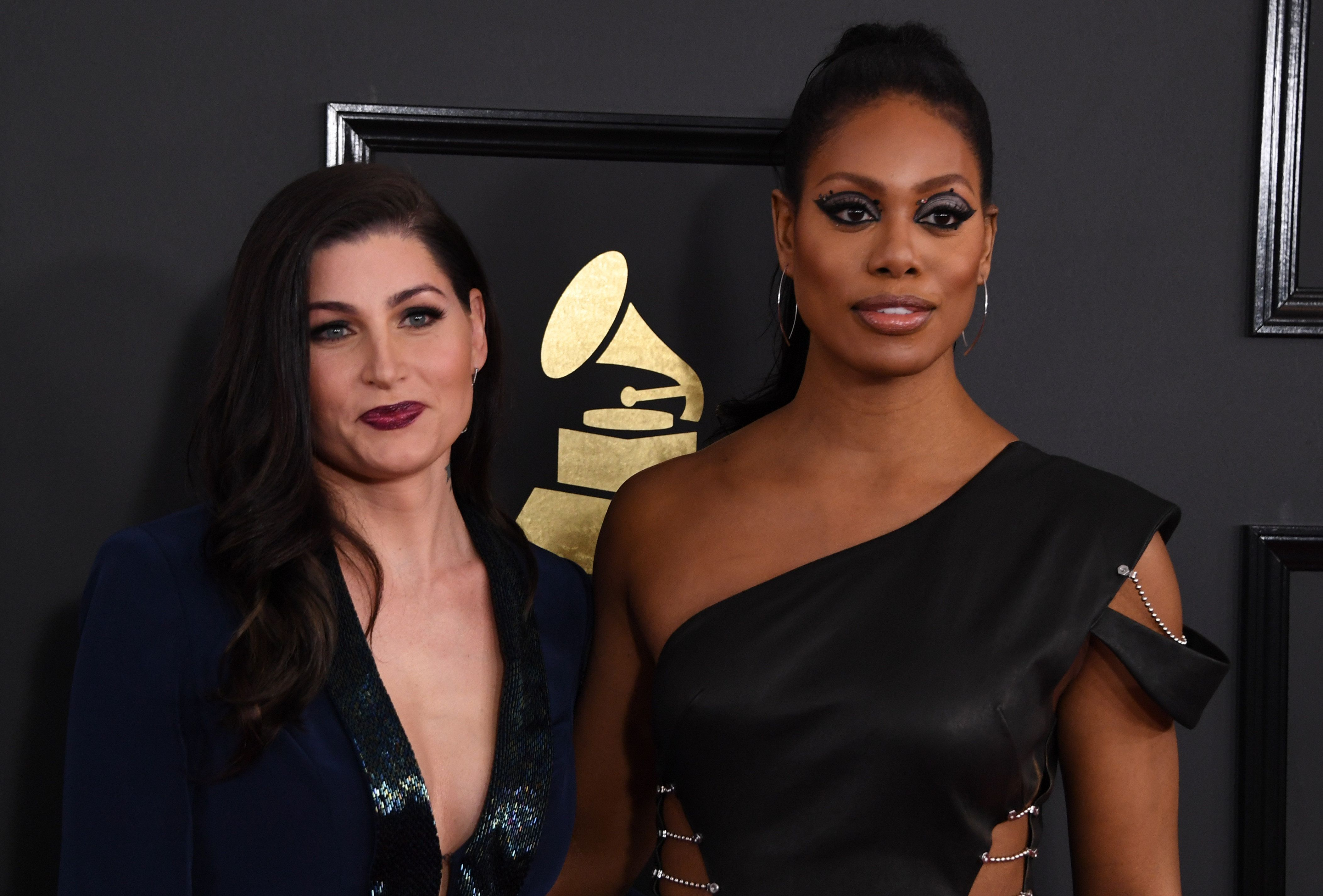 Transgender actresses Trace Lysette and Laverne Cox at the 2017 Grammy Awards.