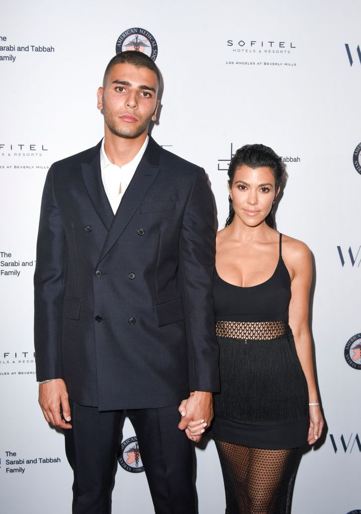 Younes Bendjima and Kourtney Kardashian attend SAMS Benefit for Syrian Refugees.