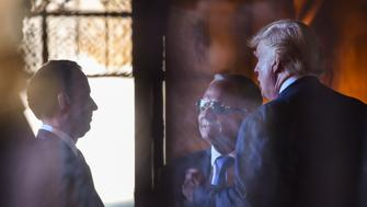 PALM BEACH, FL - DECEMBER 28: President-elect Donald Trump meets with chief-of-staff designate Reince Priebus, left, and Isaac 'Ike' Perlmutter, CEO of Marvel Entertainment, center, during transition meetings at  Mar-a-Lago Club on December 28, 2016 in Palm Beach, Fl. (Photo by Ricky Carioti/The Washington Post via Getty Images)