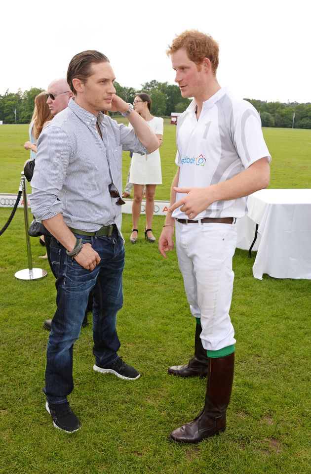 Tom Hardy and Prince Harry chat at the Audi Polo Challenge on June 1, 2014, in Ascot,
