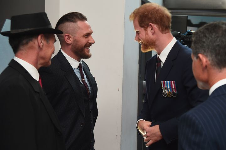 "Harry and Hardy share a laugh at the ""Dunkirk"" world premiere on July 13, 2017, in London."