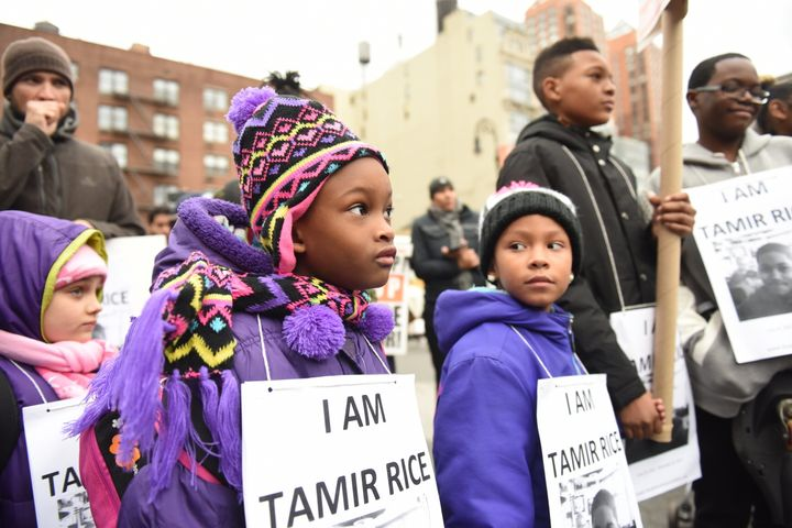 Children in New York City mark the first anniversary of the Nov. 22, 2014, fatal shooting of 12-year-old Tamir Rice in Clevel