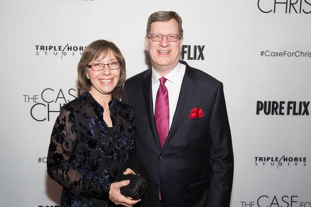 Leslie Strobel and Lee Strobel attend the film premiere of