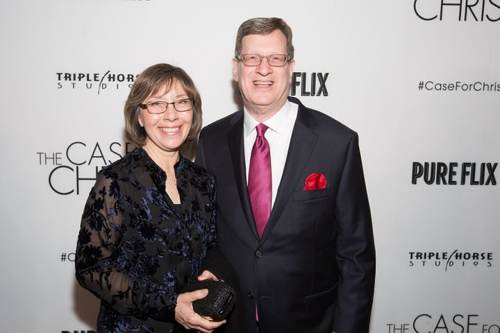 "Leslie Strobel and Lee Strobel attend the film premiere of ""The Case for Christ"" in Chicago on April 6, 2017."