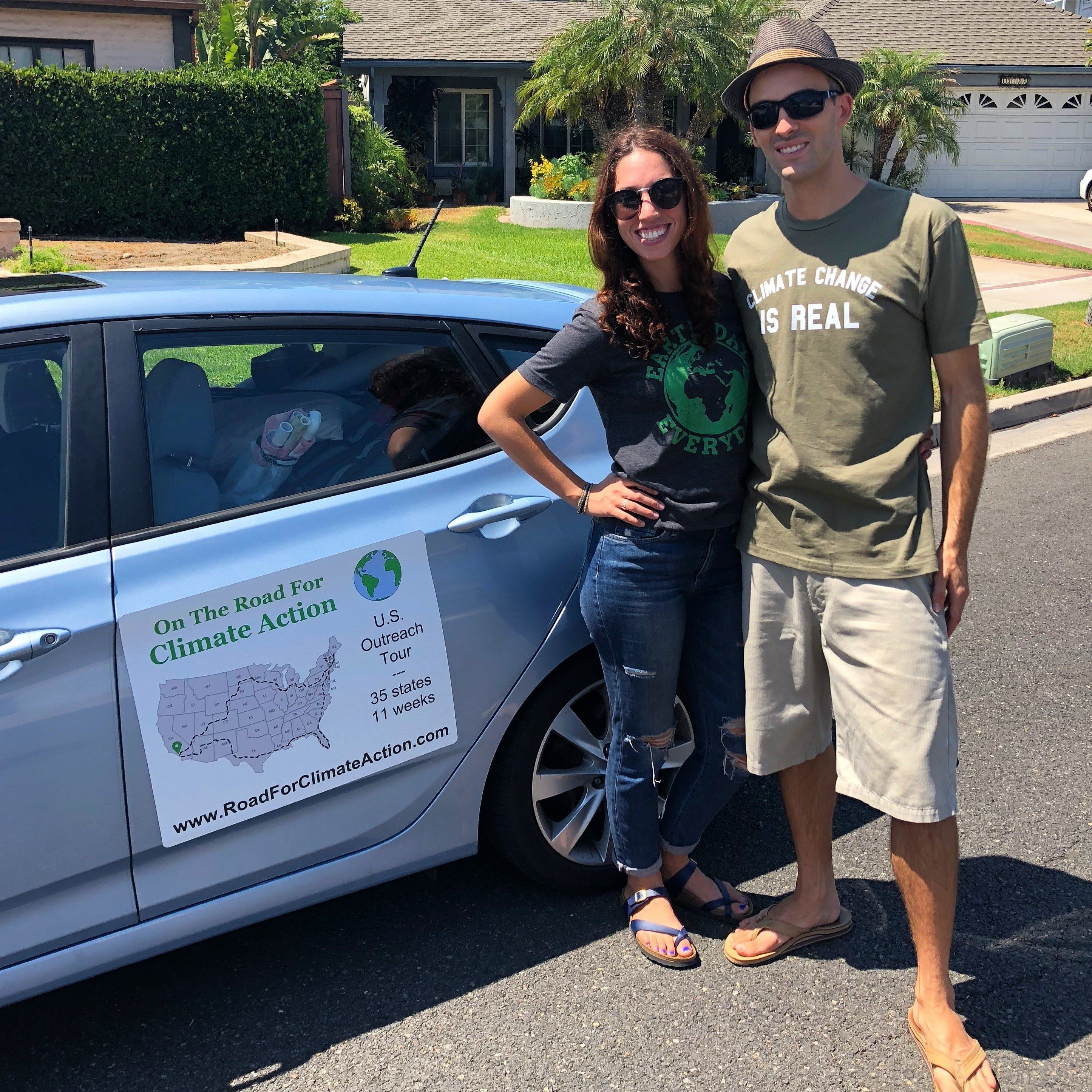 Climate change activists Shahir Masri and Athina Simolaris shortly before departing Orange County Calif for a road trip across America to raise awareness about global warming